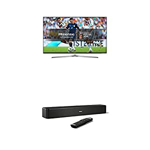 Hisense H65U7AUK 65 Inch 4K Ultra HD ULED Smart TV with HDR and Freeview Play, Silver/Black (2018 Model) + Bose Solo 5 TV Soundbar System, Black