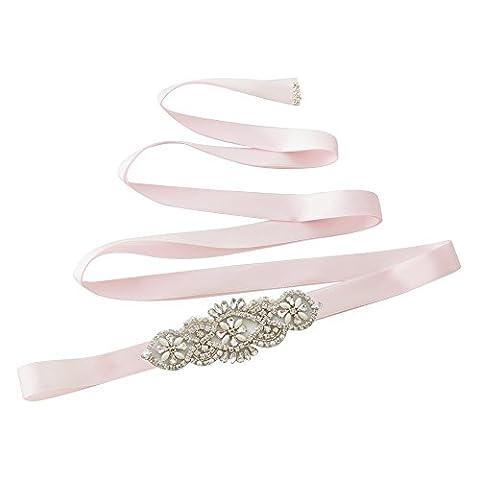 TOPQUEEN Féminines ceintures Bridal Sash mariage ceinture ceintures de perles pour mariage (Rose)