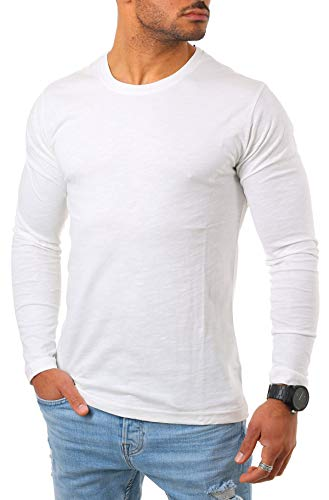 Young & Rich Herren Longsleeve Langarm Shirt mit Rundhals Ausschnitt Slim fit körperbetont 2237, Grösse:XL, Farbe:Offwhite - Armee Militär T-shirt