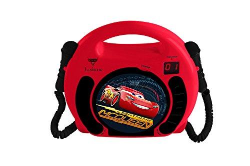 Lexibook Lecteur CD avec 2 microphones Disney Cars, design Flash Mc Queen, prise écouteurs, à piles, Rouge/Noir, RCDK100DC