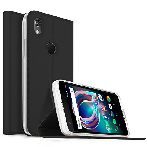 Alcatel Idol A7 XL Hülle, KuGi Alcatel Idol A7 XL Flip Bookstyle Kompletter Schutz Mit Magnetverschluss und Standfunktion Tasche Etui Cover Case Schutzhülle für Alcatel Idol A7 XL Smartphone (Schwarz)