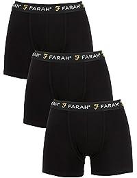 Farah Mens Sagina 3 Pack Boxer Shorts in Black- 3 Identical Pairs- Elasticated
