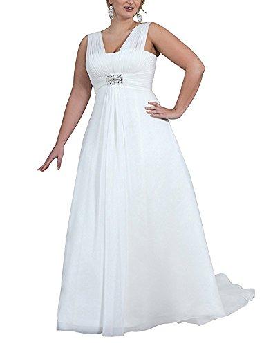 Izanoy Damen Plus Size Hochzeitskleid V-Ausschnitt Chiffon Strand Brautkleid Weiß DE 48W