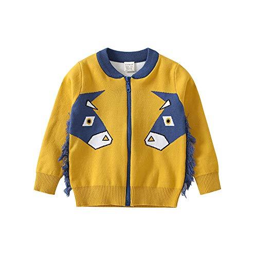 Jiameng bambino - (3t-7t) giacca bimba piccola con stampa asino a maniche lunghe con cerniera (110,giallo)