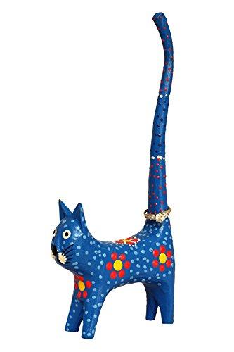 Von Hand Bemalt, Bad (20,3cm hoch Katze Lang Tail Ring Hand Dot-Painting aus Holz Hand Geschnitzt niedlicher bunter blau)