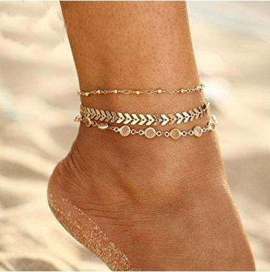 Hwiionne Fußkettchen 3 Schichten Barfuß Kristall Sandale Strand Strand Fisch Knochen Fuß Kette Fußkettchen Fußkette für Frauen Mädchen