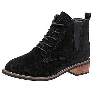 RTRY Scarpe Donna Pu Suede Autunno Inverno Comfort Combattere Stivali Stivali Chunky Tallone Punta Tonda Mid-Calf Boots Lace-Up Per Casual Black Nera Us5.5 / Eu36 / Uk3.5 / Cn35 US7.5 / EU38 / UK5.5 / CN38