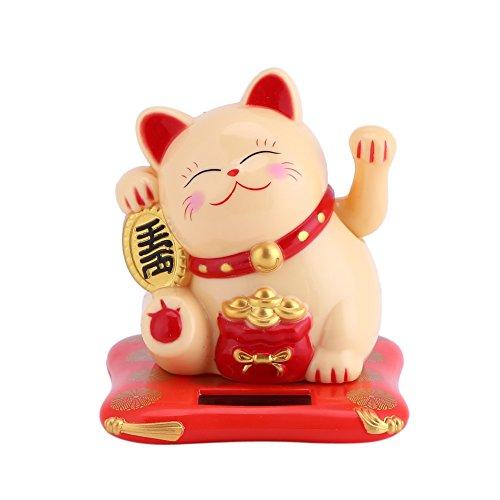 GLOGLOW Solarbetriebene süße winkende Katze viel Glück Reichtum einladende Katzen Home Display Car Decor(01) -