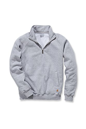 Carhartt Midweight Quarter Zip Mock Neck Sweatshirt - Arbeitspullover Herren, Heather Grey, Gr. S - Mock Neck Sweater