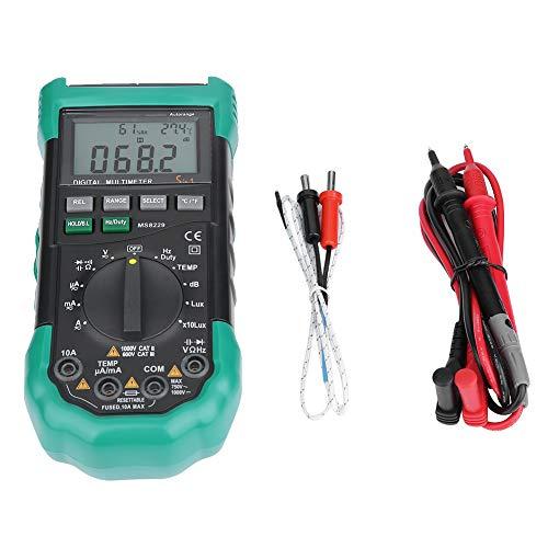 MASTECH Digitales Multimeter MS8229 4000 Counts Auto Range Lux Schallpegel Temperatur Feuchte Tester LCD Hintergrundbeleuchtung DMM mit Noise Illumination Dioden Transistor Test