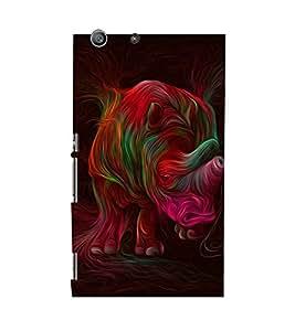MODERN ART RHINOCEROUS PICTURE 3D Hard Polycarbonate Designer Back Case Cover for Sony Xperia M5 Dual E5633 E5643 E5663 :: Sony Xperia M5 E5603 E5606 E5653