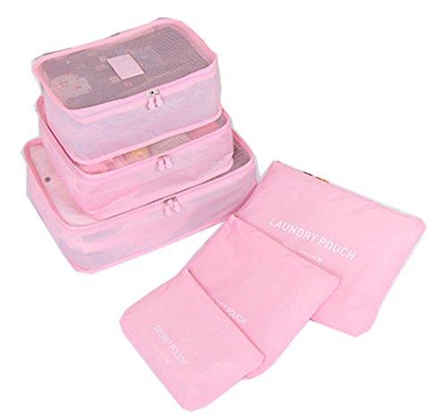 iSuperb® 6 Stück Packing Cubes Kleidertaschen Packwürfel koffer organizer Wasserdicht Packtaschen für Reise Camping Gepäck (Rosa)