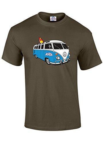 Blue-Rock-Unisex-Mens-Womens-Heavyweight-VW-Style-Surf-Camper-Van-Blue-Printed-T-Shirt-MT3