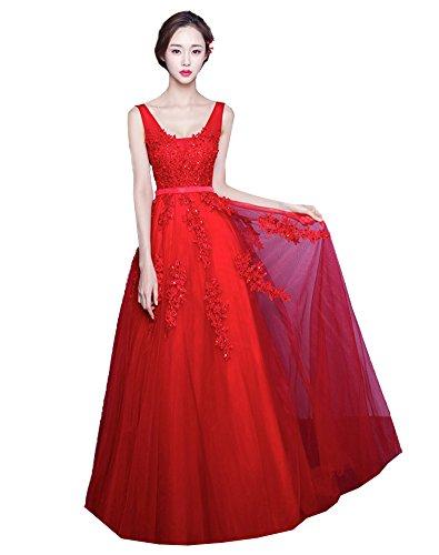 Erosebridal Langes Rueckenfrei Kleid Rueckenfrei Schnuerung Abendkleid Spitze Brautkleid Rot A DE34