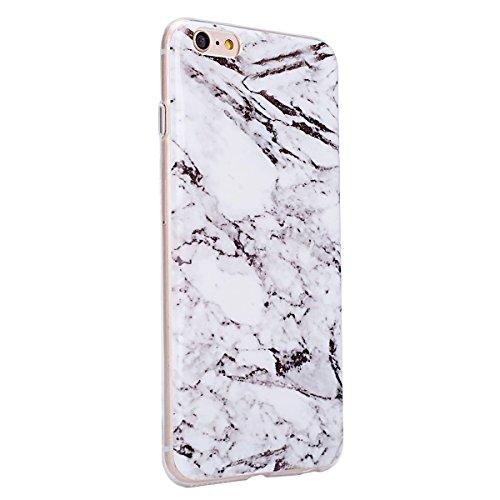 Etsue TPU Schutzhülle für iPhone 6s Plus/iPhone 6 Plus IMD Technologie Marmor Design Silikon Handyhülle Soft Case Cover, iPhone 6s Plus/iPhone 6 Plus Marble Malerei Gummi Dünn Durchsichtig Transparent Marmor,weiß