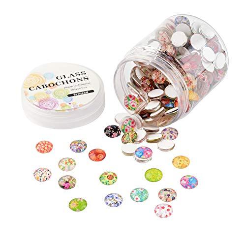 nbeads 1 Box mit 200 Stück gemischte Bunte 10 mm Blumen Glas rund Cabochons Flatback Dome Cameo für Schmuckherstellung, Glas, bunt (Cabochons Blumen)