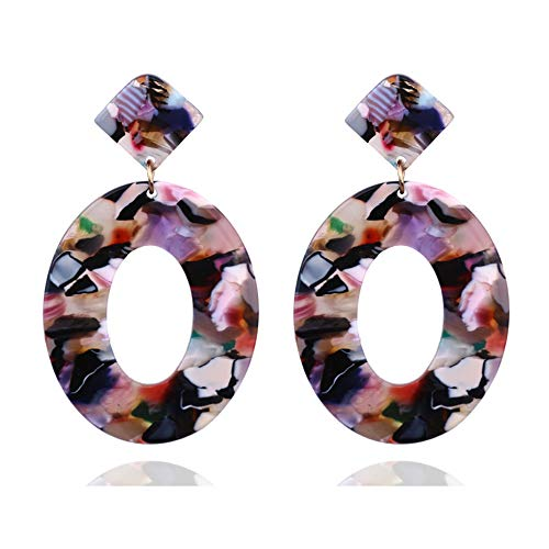 Acryl Oval (Vektenxi Premium Qualität Acryl Oval Ohrringe für Frauen Geometrie Big Circle Ohrringe, braun)