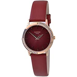 Exess Women's Quartz Watch Swarovski Crystals Analogue Display Rose Gold Case Cherry Dial and Cherry Genuine Leather Strap Waterproof 3ATM Gift Box