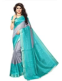 Fragile Women's Bhagalpuri Silk Zari Border Printed Saree With Blouse Piece.(Bhagalpuri 805_Free Size)