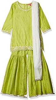 BIBA Girl's synthetic straight Salwar Suit