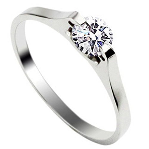 1PC Fashion Chic Stainless Steel Women Ring Silver Engagement Size T