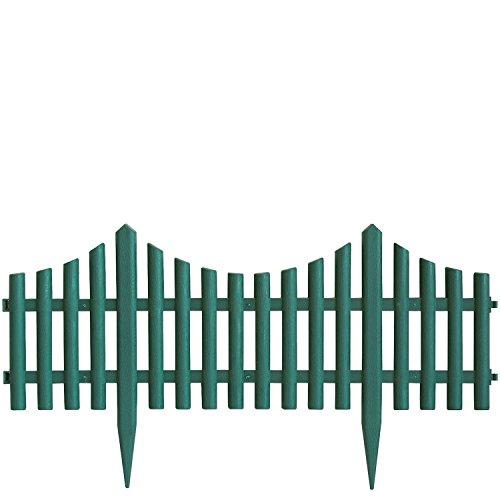 Wohaga 4er Set Beeteinfassung Gartenzaun Zierzaun Beetabgrenzung Lattenzaun Dekozaun Kunststoffzaun Beetumrandung Zaun 60,5x33cm – Grün