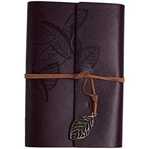 sayeec Diario–Bronzo foglie Composizione Notebook Diario di viaggio stile vintage pu copertina notebook A6 Deep Coffee