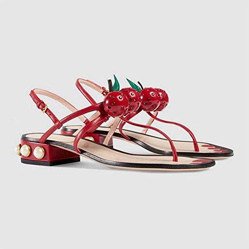 Sandalen Frauen römische Kirsche Sandalen Perlen Xia mit Frau Schuhe sdhrxQtC