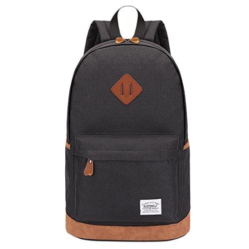 iTECHOR Kaukko K1001 Männer Leinwand Rucksack Große Kapazität beiläufige Rucksack Schule Tasche - Schwarz (Hobo Bag 2 Pocket)