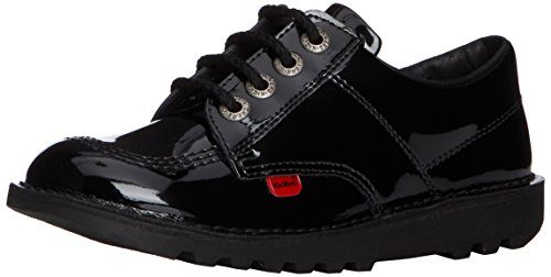 Kickers Lo Core Patl Jf, Scarpe Derby con lacci Unisex - bambino, Nero (Nero (nero)), 1 Child UK