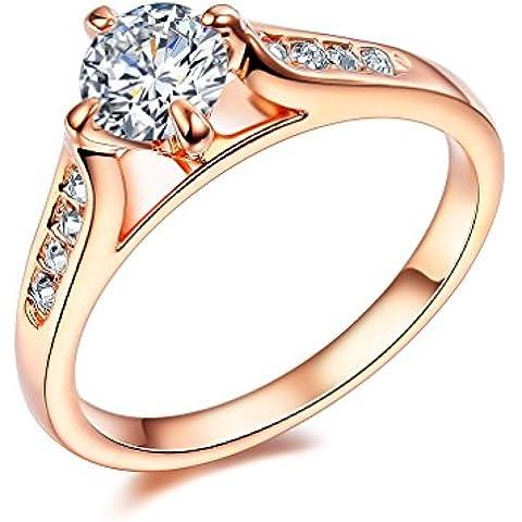 NewBox 9CZ cristal 18ct bañado en oro rosa Classic compromiso anillos de boda para las mujeres