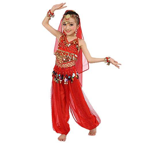 BOZEVON Kinder Bauchtanz Kostüme Sets indischen Tanz Performance Outfits Fünf teiliges Set, Rot/M