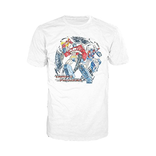 Transformers Autobots Attack! Official Men's T-Shirt (White) (X-Large)