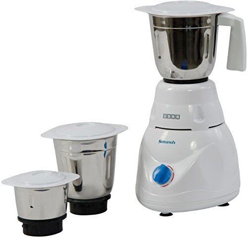 Usha Smash Mixer Grinder (MG-2853) 500-Watt 3 Jars (White)