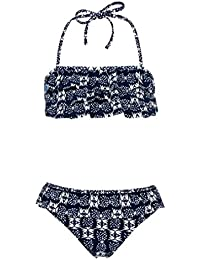 Snapper Rock Girls Bandeau Bikini UV UPF 50+ Cute & Elegant Summer Swimwear for Kids & Teens