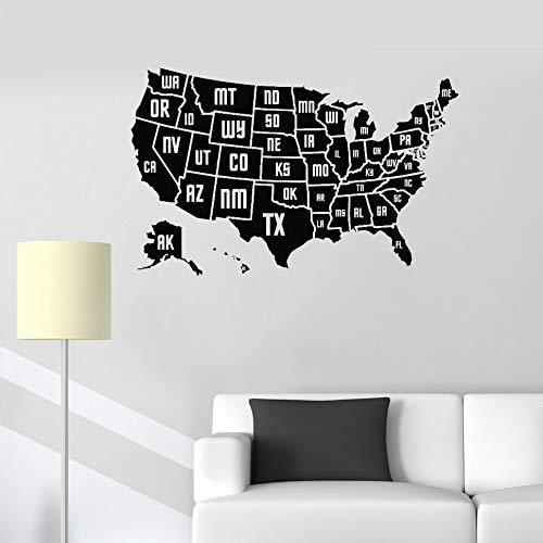 jiuyaomai Usa Karte Wandaufkleber Aufkleber Vinyl Home Office Wanddekorwand Moderne Kunst Karte Der Amerika Tapete Abnehmbare Rosa 66 cm x 42 cm