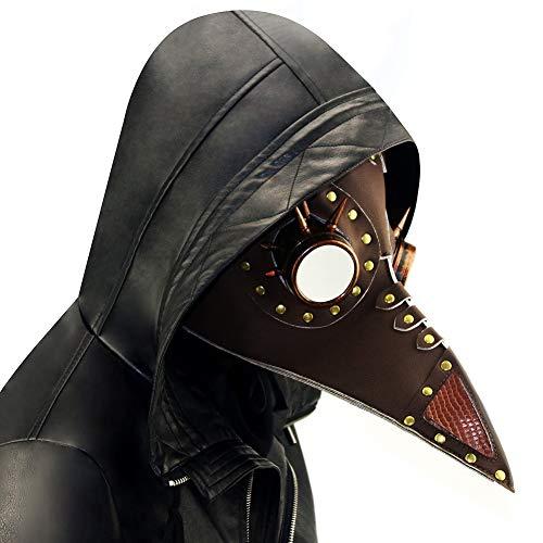 Steampunk Pest Doktor Vogel Schnabel Maske, mittelalterliche Beulenpest DR Halloween Kostüm Maskerade Masken, Ledermaske für Männer und Frauen - Vogel Schnabel Maske Kostüm