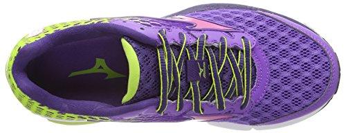 Mizuno Wave Rider 18, Running femme Violet (deep Lavender/fuchsia Purple/green Glow)