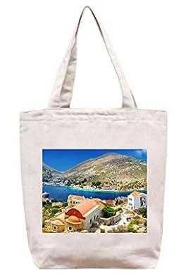 Belles Couleurs dans un village grec–Toile en coton Sac fourre-tout