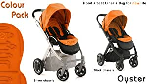 Oyster Stroller with Orange Colour pack, Silver Chassis