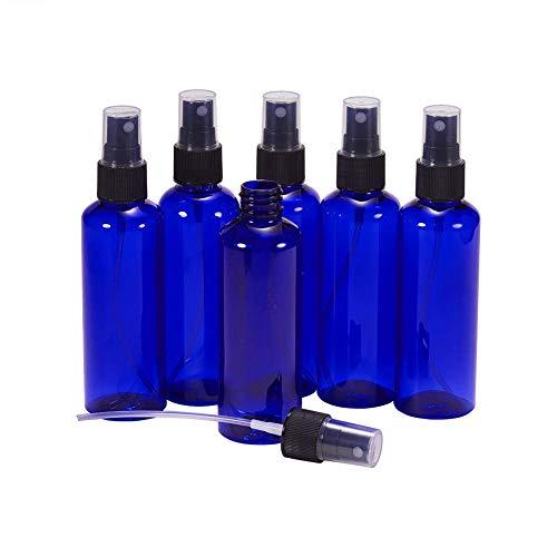 Blau Aromatherapie (BENECREAT 8 PACK 100ml Leere PET-Kunststoff-Sprühflasche mit schwarzen Sprühnebelsprüher Pumpe für hausgemachte Reiniger und Aromatherapie (Blau-Violett))
