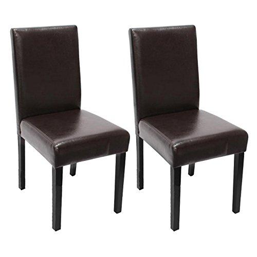 Lot de 2 chaises de séjour Littau, cuir reconstitué marron, pieds foncés