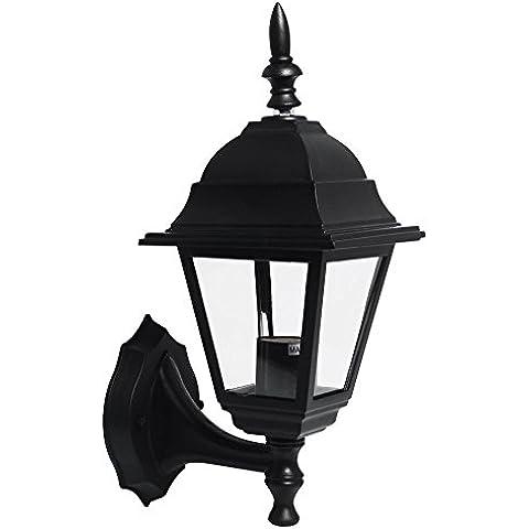 L¨¢mpara de la linterna LED del estilo de la vendimia Negro THG jard¨ªn al aire libre pared de luz (paquete de