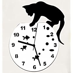 Reloj Gato Acrylic Face Emoticon DIY Reloj Pared Marco Espejo 3D Wall Sticker