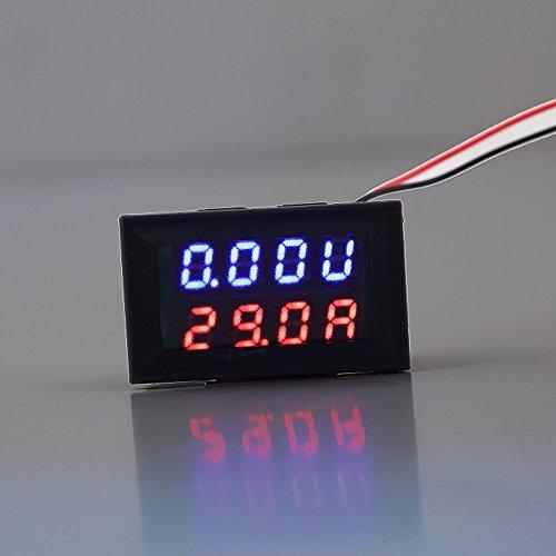 Dailyinshop DC 0-30V 10A Voltmeter Amperemeter Blau + Rot LED Panel Amp Digital Volt Gauge meter (Farbe: schwarz) (Amp Gauge 0)