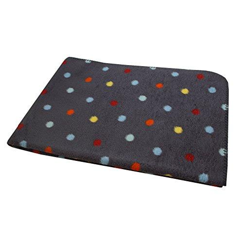 Richter Wolldecke Punkte aus 100 % Bio-Baumwolle in unterschiedlichen Farben und 3 Größen, 41815-1470 Rauchgrau/Bunt 150 x 200 cm