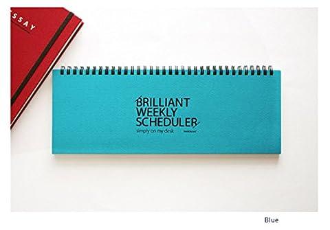 PAPERIAN Brilliant Weekly Scheduler - Wirebound Undated Weekly Planner Pad Scheduler (Blue)