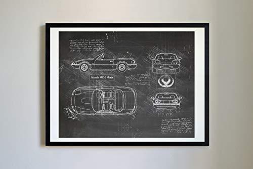 DolanPaperCo #334 Mazda MX-5 Miata 1989 Kunstdruck, da Vinci Sketch, ungerahmt, Verschiedene Größen/Farben 16x20 Blackboard
