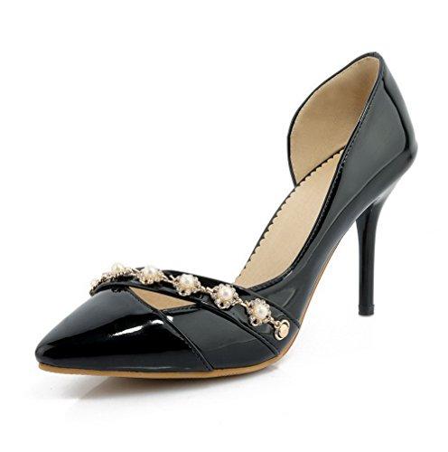 AgooLar Femme Couleur Unie Verni à Talon Haut Tire Pointu Chaussures Légeres Noir
