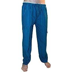 Pantalones de algodón coloridos, comercio ético, muy cómodos. Rayas de Azul.